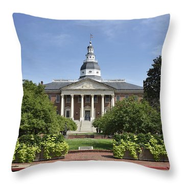 Maryland State House In Annapolis Maryland Throw Pillow