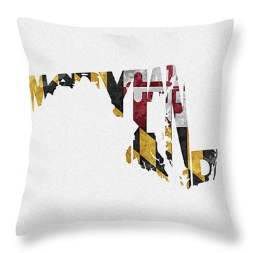 Maryland Typographic Map Flag Throw Pillow
