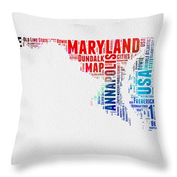 Maryland Watercolor Word Cloud  Throw Pillow