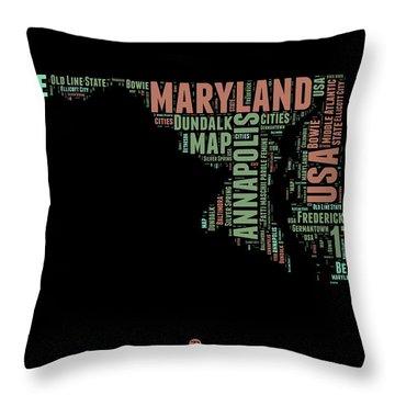 Maryland Word Cloud 1 Throw Pillow
