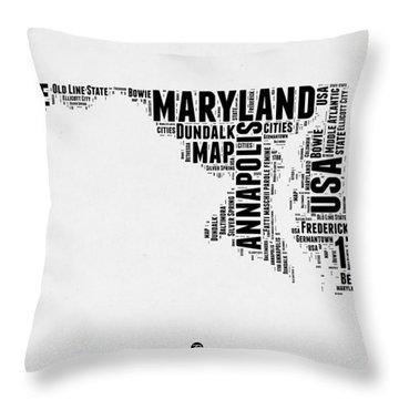 Maryland Word Cloud 2 Throw Pillow