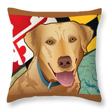 Maryland Yellow Lab Throw Pillow