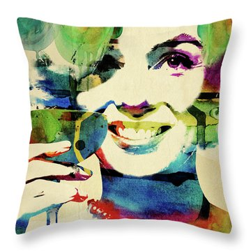 Marilyn And Her Drink Throw Pillow by Mihaela Pater