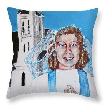 Mary's First Communion Throw Pillow