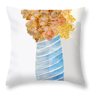 Throw Pillow featuring the painting Mary's Flowers by Sandy McIntire