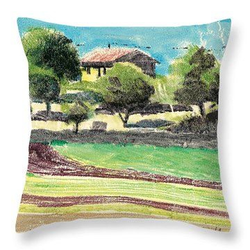 Throw Pillow featuring the painting mas en Provence landscape by Martin Stankewitz