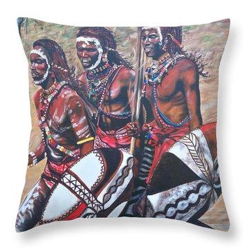 Blaa Kattproduksjoner       Masaai Warriors Throw Pillow