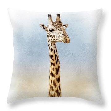 Masai Giraffe Closeup Square Throw Pillow