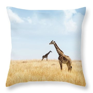 Masai Giraffe In Kenya Plains Throw Pillow