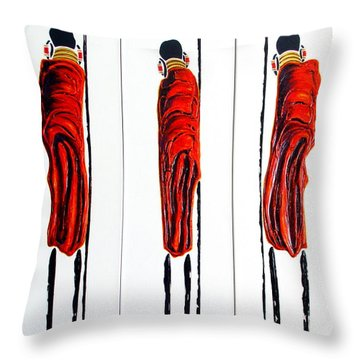 Masai Warrior Triptych - Original Artwork Throw Pillow