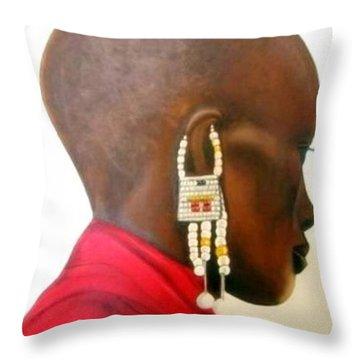 Masai Woman - Original Artwork Throw Pillow
