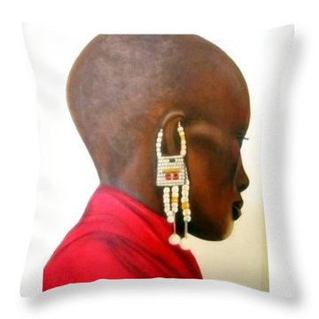 Masai Woman - Original Artwork Throw Pillow