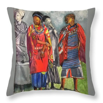 Masai Women Throw Pillow