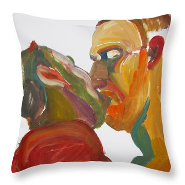 Masculine Kiss Throw Pillow by Shungaboy X