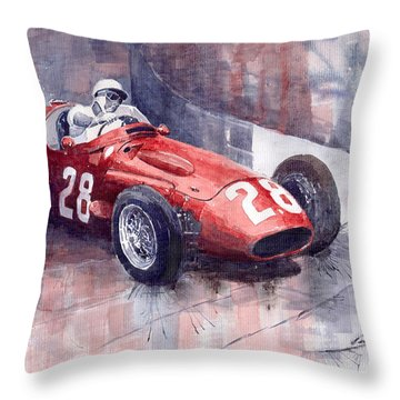Maserati 250 F Gp Monaco 1956 Stirling Moss Throw Pillow by Yuriy  Shevchuk
