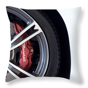 Maserati Wheel White Throw Pillow