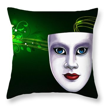 Mask Blue Eyes On Green Vines Throw Pillow