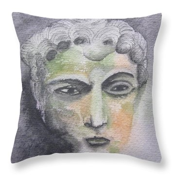 Throw Pillow featuring the painting Mask II by Teresa Beyer
