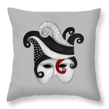 Mask In Black And White With Red Throw Pillow