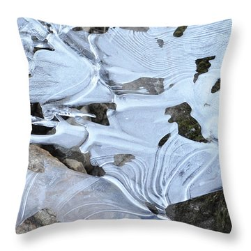 Throw Pillow featuring the photograph Ice Mask Abstract by Glenn Gordon