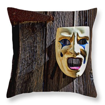 Mask On Barn Door Throw Pillow by Garry Gay