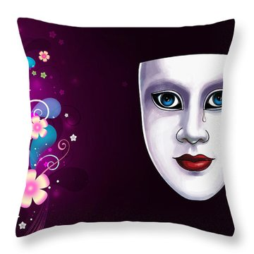 Mask With Blue Eyes Floral Design Throw Pillow
