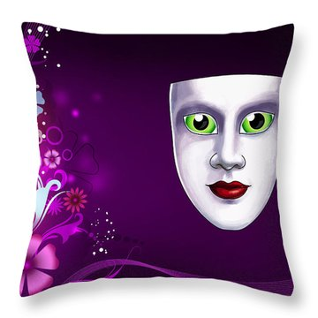 Throw Pillow featuring the photograph Mask With Green Eyes On Pink Floral Background by Gary Crockett
