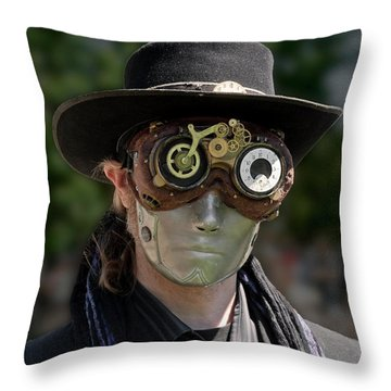 Masked Man - Steampunk Throw Pillow by Betty Denise