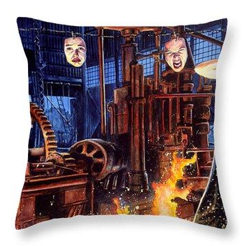 Masks Throw Pillow by Ken Meyer