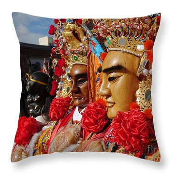 Throw Pillow featuring the photograph Masks Used For Temple Ceremonies by Yali Shi