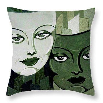 Masks Verde Throw Pillow by Tara Hutton