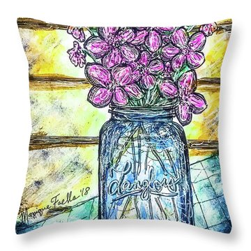 Throw Pillow featuring the painting Mason Jar Bouquet by Monique Faella