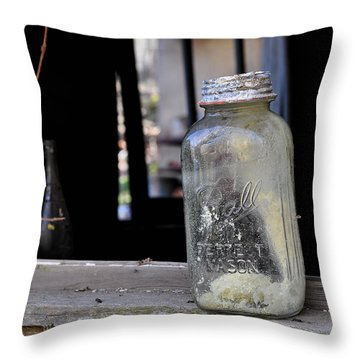Mason Jar Throw Pillow by Todd Hostetter