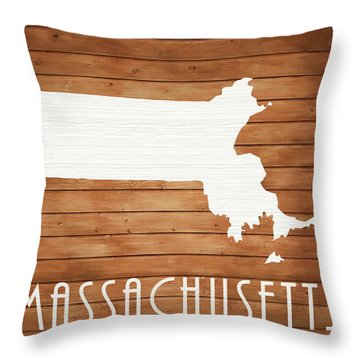 Massachusetts Rustic Map On Wood Throw Pillow