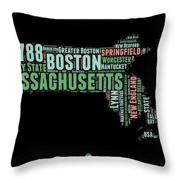 Massachusetts Word Cloud Map 1 Throw Pillow