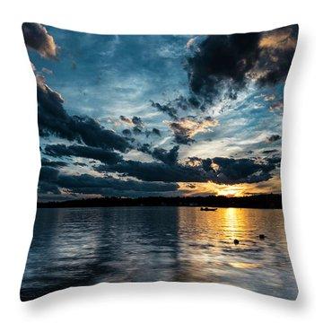 Masscupic Lake Sunset Throw Pillow