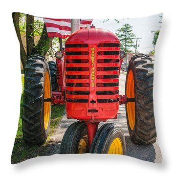 Massey Harris And Old Glory Throw Pillow