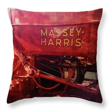 Massey Harris Vintage Tractor Throw Pillow by Ann Powell