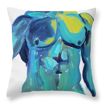 Massive Hunk Blue-green Throw Pillow by Shungaboy X