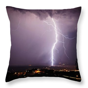 Massive Lightning Storm Throw Pillow