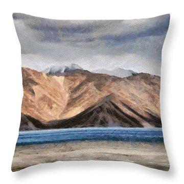 Massive Mountains And A Beautiful Lake Throw Pillow by Ashish Agarwal