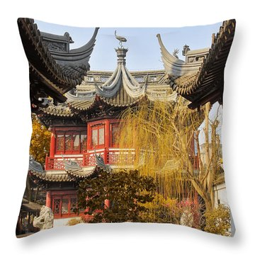 Massive Upturned Eaves - Yuyuan Garden Shanghai China Throw Pillow by Christine Till