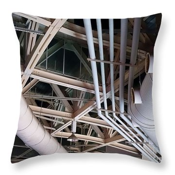 Throw Pillow featuring the photograph Massive Ventilation Pipes by Yali Shi