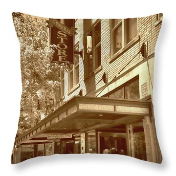 Throw Pillow featuring the photograph Mast General Store by Skip Willits