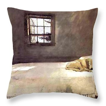 Throw Pillow featuring the painting Master Bedroom  by Andrew Wyeth