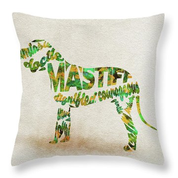 Throw Pillow featuring the painting Mastiff Dog Watercolor Painting / Typographic Art by Ayse and Deniz