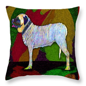 Throw Pillow featuring the digital art Mastiffically Colorful by Michelle Audas