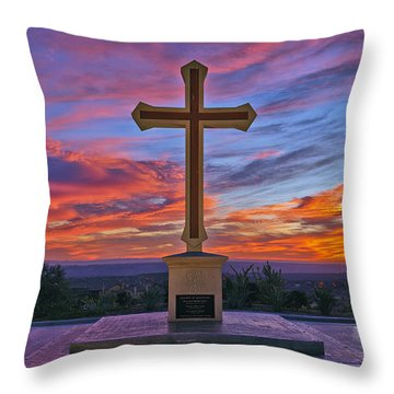 Christian Cross And Amazing Sunset Throw Pillow