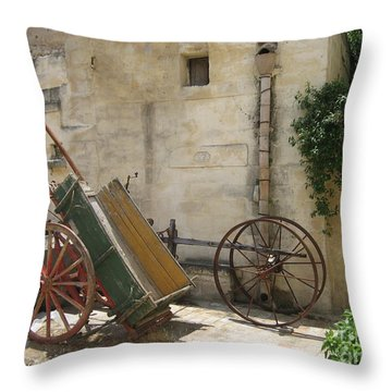 Matera Old Horsecart Italy Throw Pillow