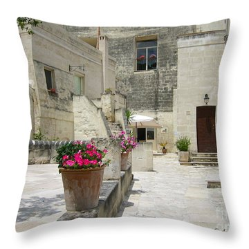 Matera With Flowers Throw Pillow by Italian Art